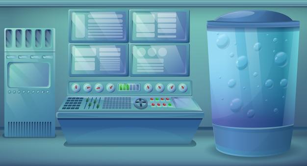 Salle d'ingénierie de dessin animé avec équipement, illustration vectorielle