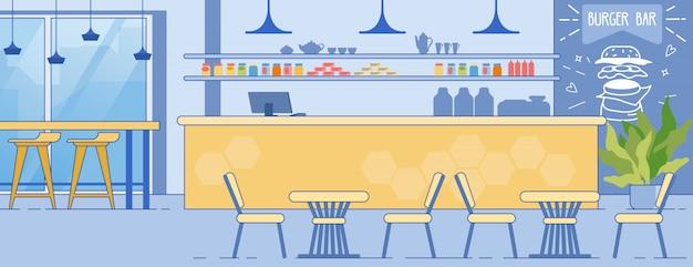 Salle intérieure de burger bar avec chaises de table de comptoir