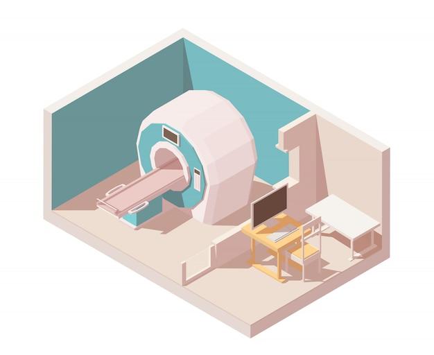 Salle d'irm. comprend un scanner irm et une salle d'observation des médecins avec table pc.