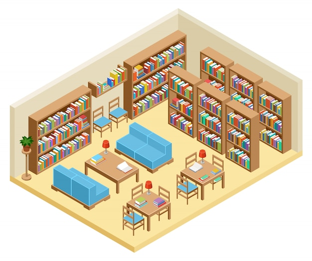 Salle isométrique de bibliothèque, étagères à livres