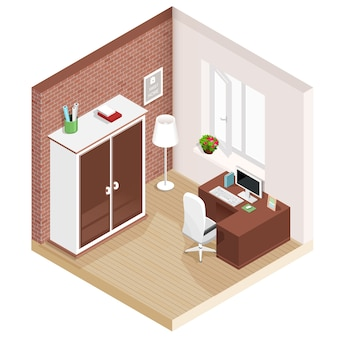 Salle isométrique graphique moderne avec lieu de travail et armoire. icônes de meubles isométriques. illustration.