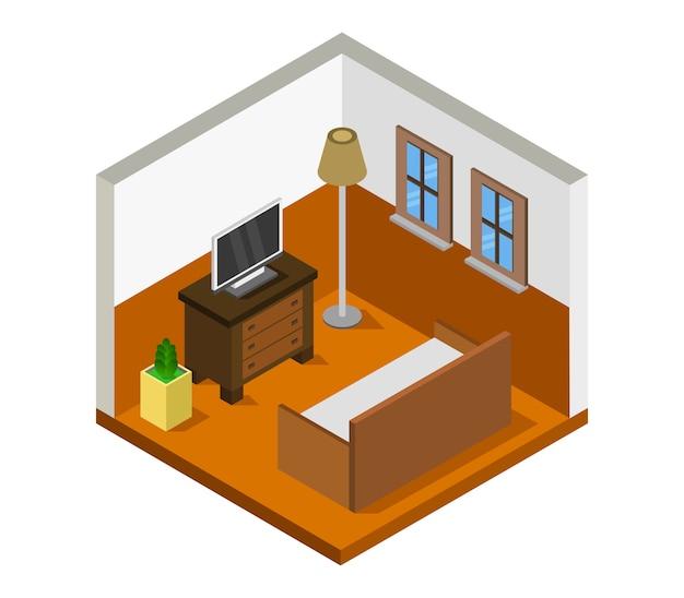 Salle isométrique avec télévision