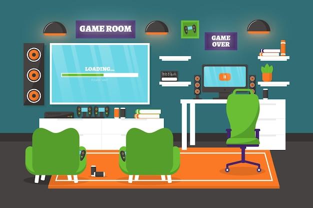 Salle de jeu design plat