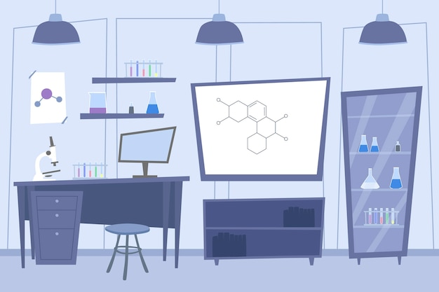 Salle de laboratoire de dessin animé avec des éléments scientifiques