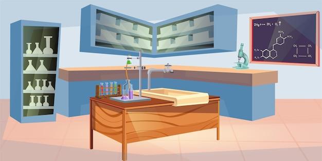 Salle de laboratoire vide de dessin animé