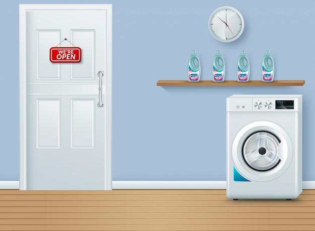 Salle de lavage sur bleu