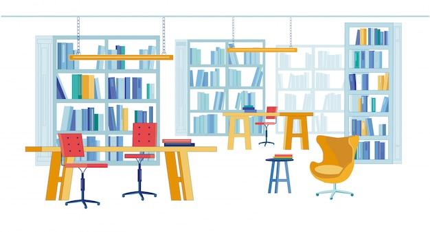 Salle de lecture dans la bibliothèque universitaire de livres imprimés