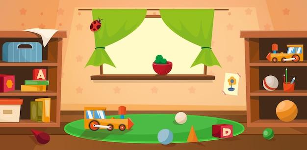 Salle de maternelle vide avec jouets et grande fenêtre
