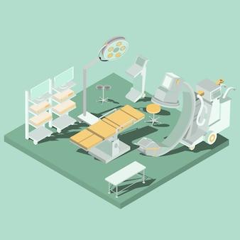 Salle d'opération avec l'équipement approprié