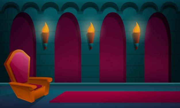 Salle royale dans le château avec le trône, illustration