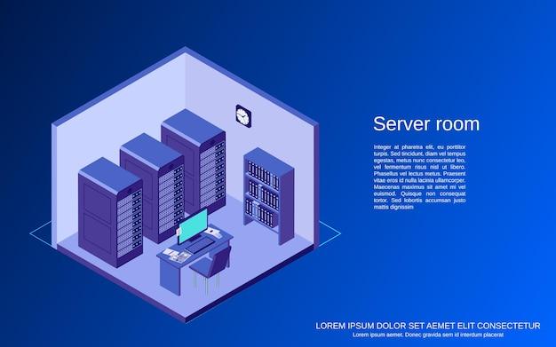 Salle des serveurs, centre de données intérieur plat illustration vectorielle isométrique