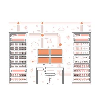 Salle de serveurs et centre de données