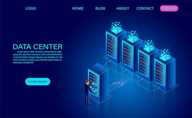 Salle de serveurs du centre de données et traitement des données volumineuses protéger le concept de sécurité des données. l'information numérique. isométrique. dessin animé néon foncé