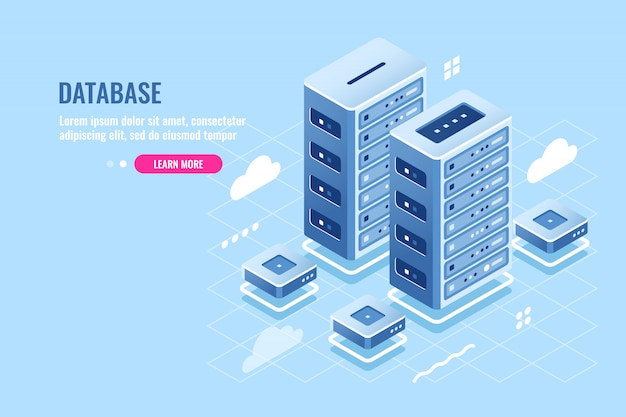 Salle des serveurs, hébergement de sites web, stockage en nuage, icône isométrique du centre de données et du centre de données