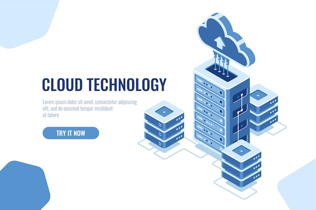 Salle des serveurs, icône isométrique du centre de données, sur fond blanc, informatique en nuage, données databa