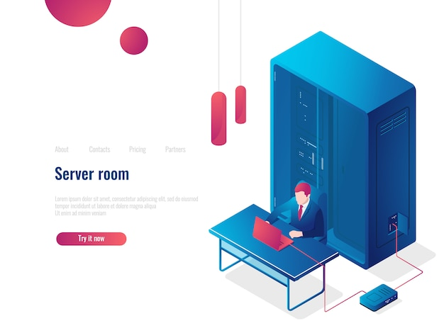 Salle des serveurs, icône isométrique de réseau, page de renvoi de l'administrateur système, stockage en nuage dans la base de données