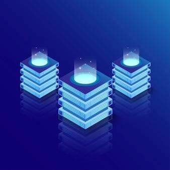 Salle de serveurs isométrique et concept de traitement de données volumineuses, centre de données et base de données.