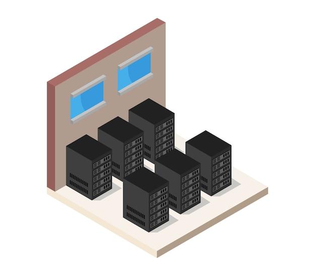 Salle de serveurs isométrique