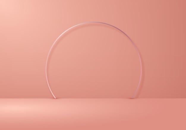 Salle de studio beige vide 3d avec arc de cercle