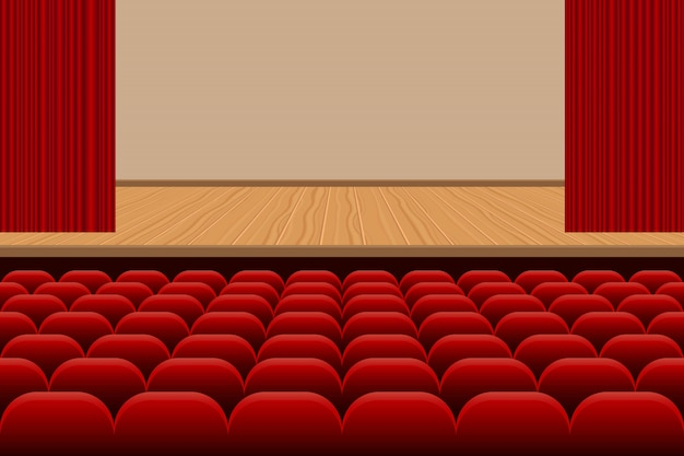 Salle de théâtre avec des rangées de sièges rouges et illustration de scène en bois