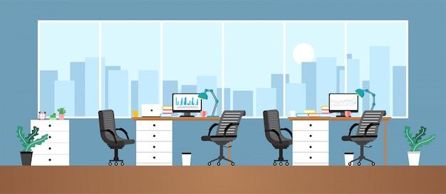 Salle de travail de bureau pour les employés ou contacts travaillant dans des entreprises d'enseignement