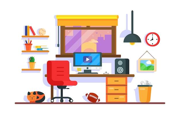 Salle de travail avec chaise de table et ordinateur