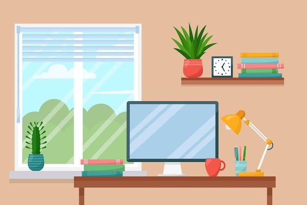 Salle de travail, intérieur de l'armoire de travail à la maison, illustration vectorielle