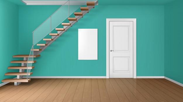 Salle vide avec escalier et porte fermée blanche