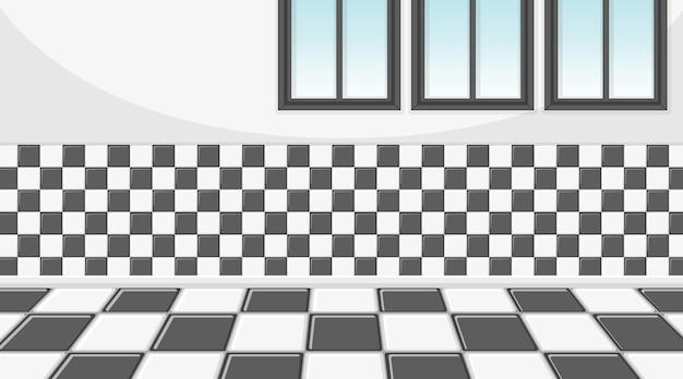 Salle vide avec mur à carreaux et tuiles