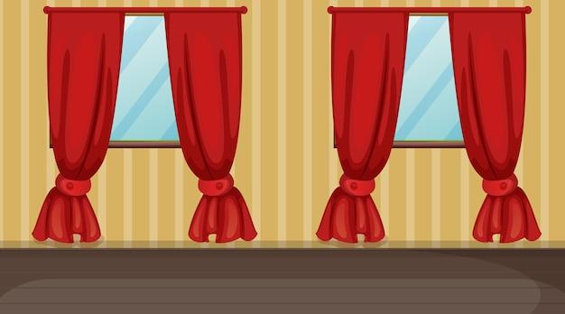 Salle vide avec des rideaux rayés jaunes et rouges