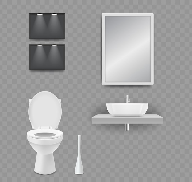Salle de wc. toilette réaliste, lavabo et miroir isolés sur fond transparent.