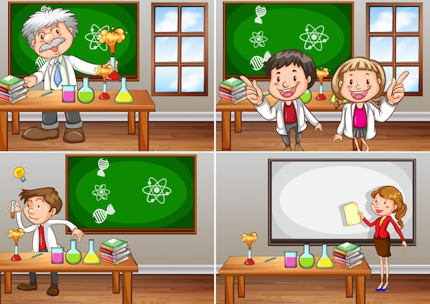 Les salles de cours de sciences avec l'illustration des enseignants