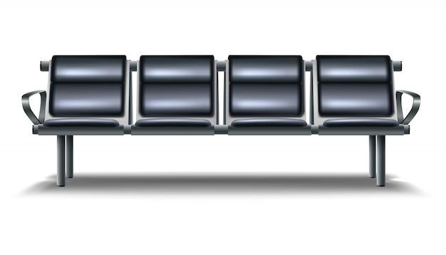 Salon aéroport ensemble. banc en cuir noir, icône illustration isolé sur fond blanc.