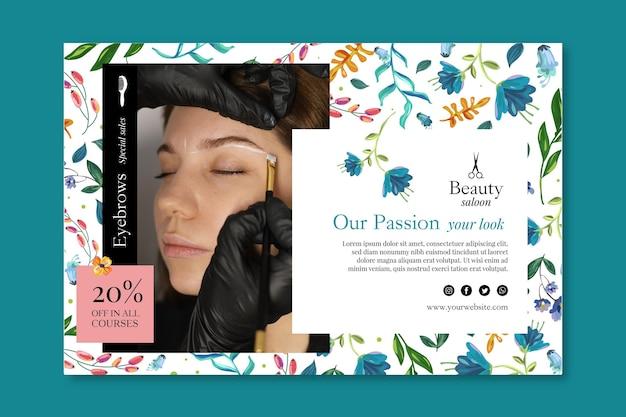 Salon de beauté avec bannière de réduction