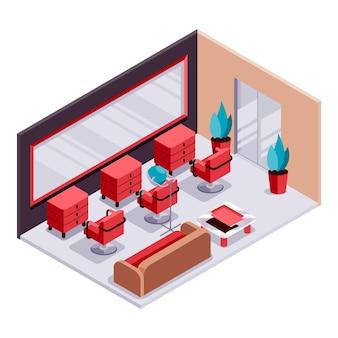 Salon de beauté isométrique créatif illustré