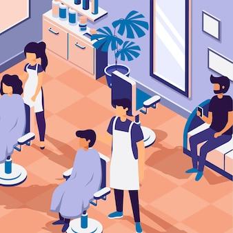 Salon de beauté isométrique illustré
