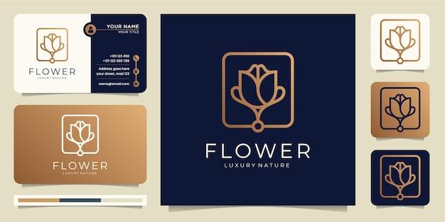 Salon de beauté de luxe de fleur d'or minimaliste rose, dessin au trait.