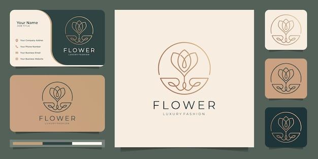 Salon de beauté de luxe minimaliste élégant fleur rose, mode, soins de la peau, produits cosmétiques, yoga et spa. modèles de logo et conception de cartes de visite.