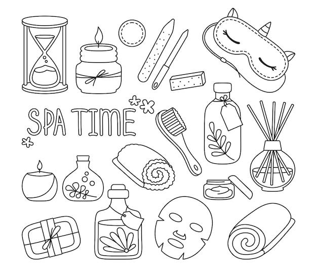 Salon de beauté spa maison relaxation doodle ensemble bougie aromatique crème masque soin du corps moi concept de temps
