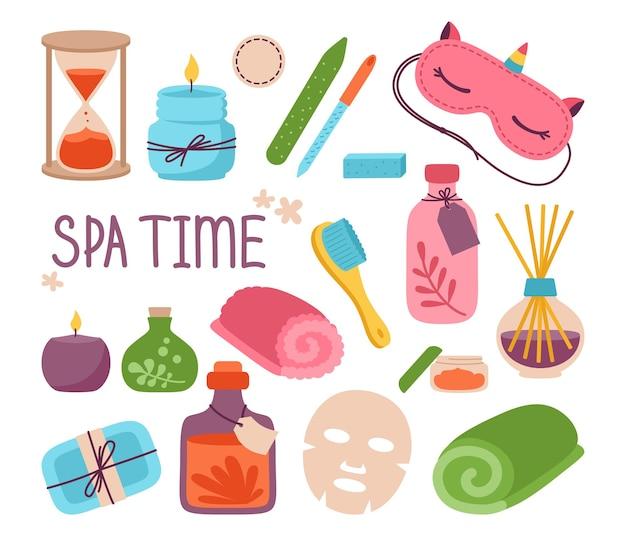 Salon de beauté spa maison relaxation soins du corps ensemble masque savon bougie aromatique lime à ongles crème serviette