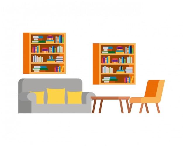 Salon avec canapé et bibliothèque de livres