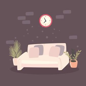 Salon canapé et montre