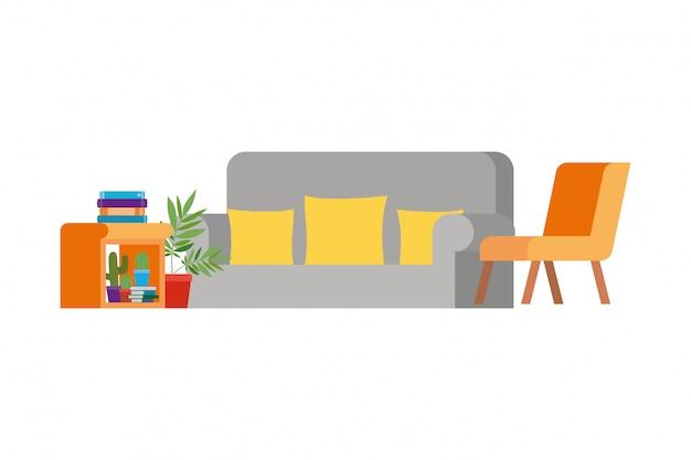 Salon avec canapé et pile de livres