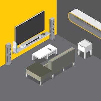 Salon avec cinéma maison