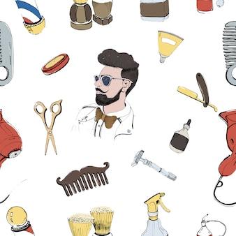 Salon de coiffure dessiné à la main sans couture avec accessoires