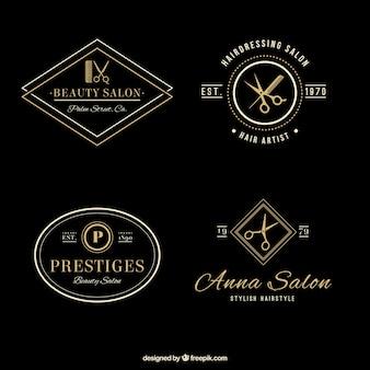 Salon de coiffure élégante logos