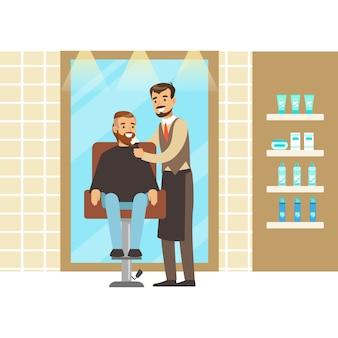 Salon de coiffure ou intérieur de salon de coiffure. illustration de personnage de dessin animé coloré