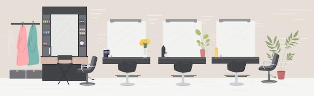 Salon de coiffure moderne avec des miroirs de chaises et des meubles salon de beauté intérieur horizontal