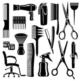 Salon de coiffure outils icônes définies.