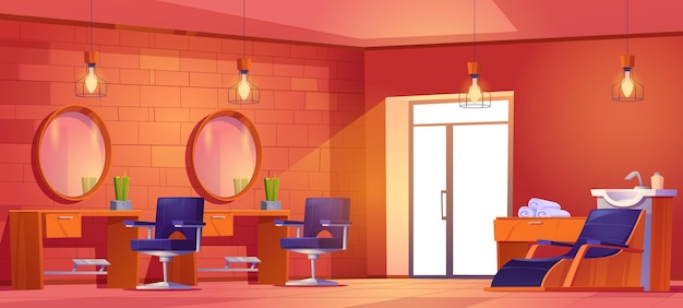 Salon de coiffure ou salon de coiffure avec fauteuils de coiffure